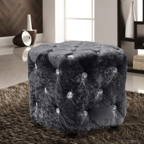 CHARCOAL LUXURY CRUSHED VELVET DIAMANTE FOOT STOOL CUSHION CUBE POUFFE DESIGNER FURNITURE